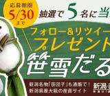【笹団子(笹雪だるま)プレゼント!】twitterキャンペーンのお知らせ