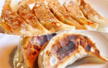 「越の鶏」を使用した『一口餃子』・『ジャンボ餃子』。ニンニク不使用で後味さっぱりの大人気餃子!