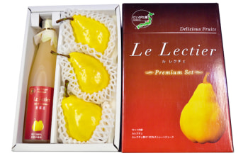ル・レクチェはジュースセット有。贈答に嬉しい化粧箱。※写真のル・レクチェはサンプル