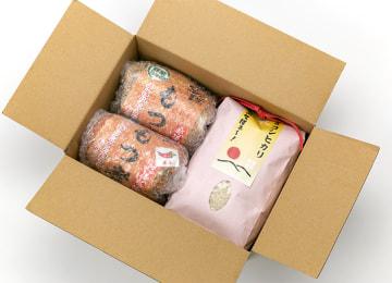 梱包イメージ(もつ煮とお米セット)