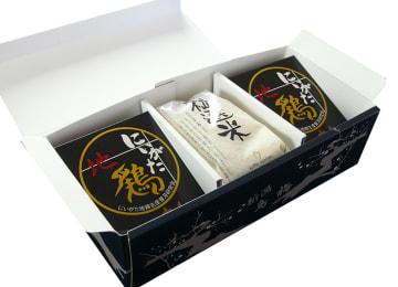 『越後特産 地鶏カレー4袋、粒選米(3合)×2袋』