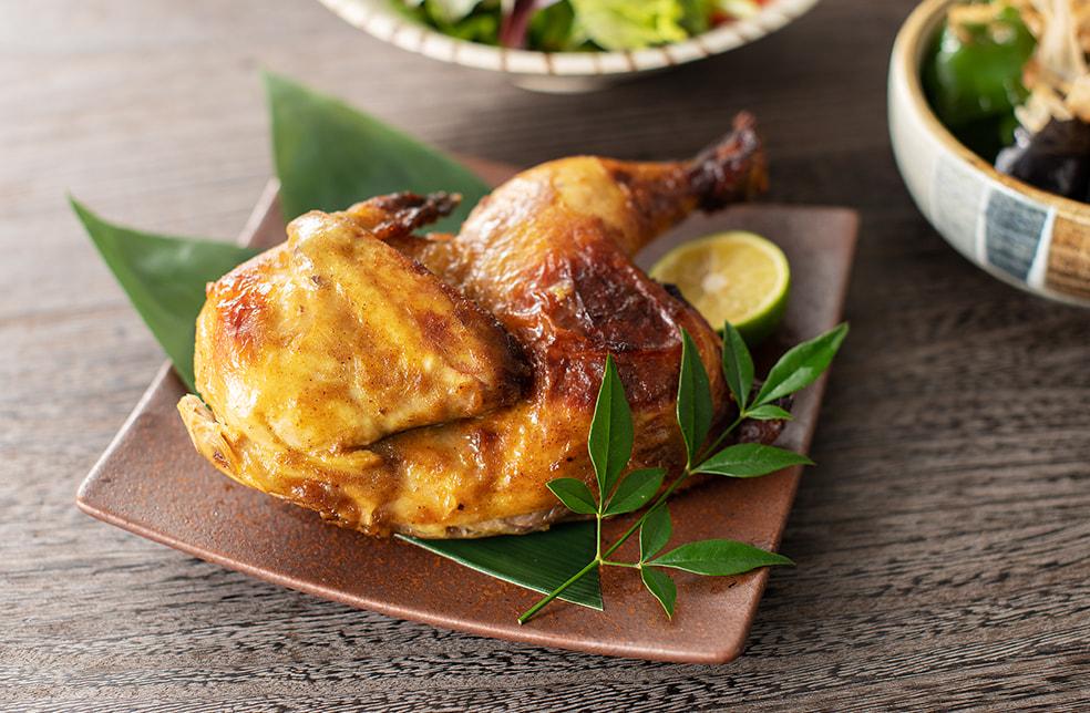 揚げない鶏の半身カレー揚げ