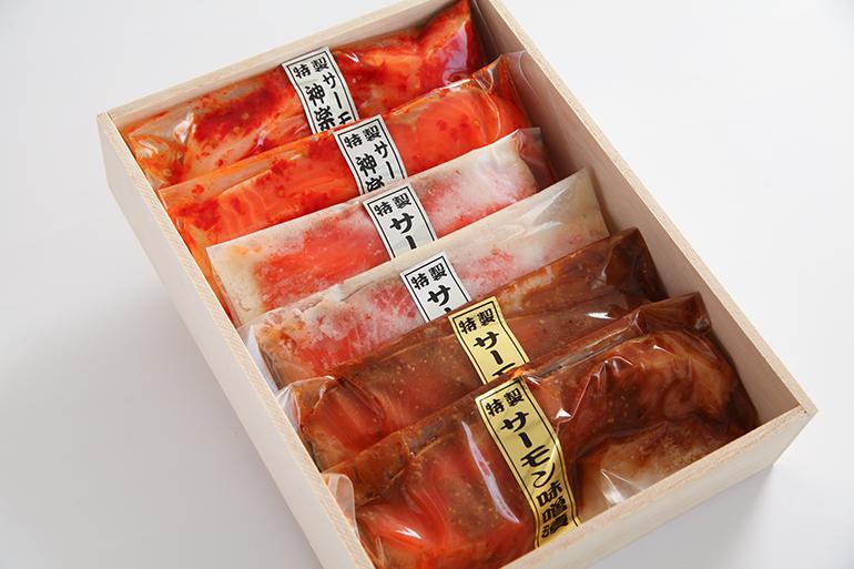 2.【木箱入り】サーモンの三色漬セット