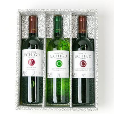 越後ワイン メルロー(赤)・カベルネソーヴィニヨン(赤)・シャルドネ(白)セット