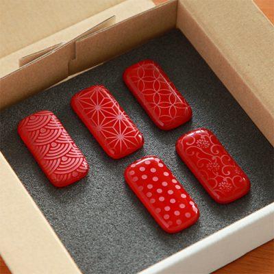 硝子の箸置き「赤」5個セット