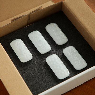 硝子の箸置き「白」5個セット