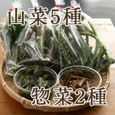 朝採り天然山菜5袋+山菜惣菜2種 詰め合わせ