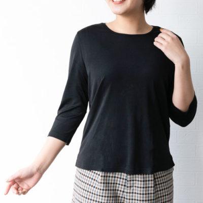 ラウンドネック シルクシャツ(ブラック)