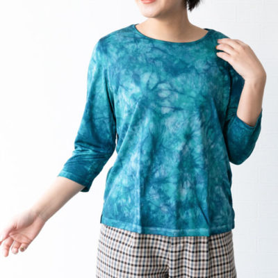 ラウンドネック シルクシャツ(エメラルド)