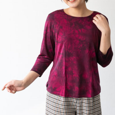 ラウンドネック シルクシャツ(パープル)