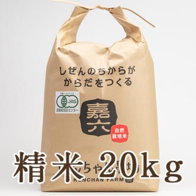自然栽培米ササニシキ(JAS有機認証米) 精米20kg