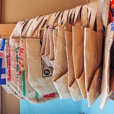 米袋のリサイクル商品を女性目線で作っている