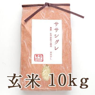魚沼産 自然栽培 はざかけ米 ササシグレ 玄米10kg