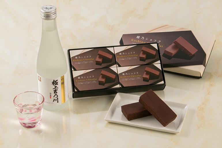 厳選したチョコレートと新潟の吟醸酒を使用