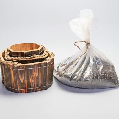 焼杉木製プランター角型3点セット 培養土付き