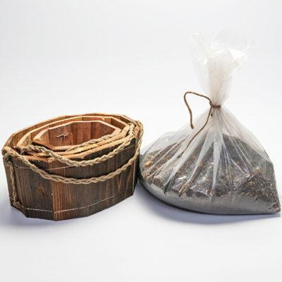 焼杉木製プランター楕円型3点セット 培養土付き