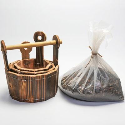 焼杉木製プランター手桶型3点セット 培養土付き