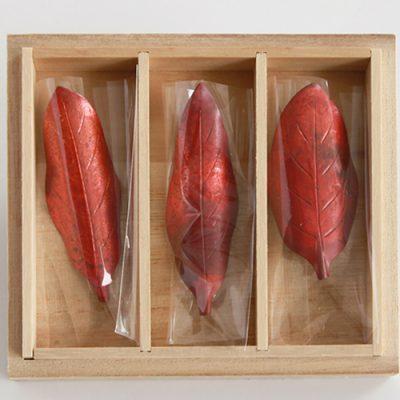 木の葉の箸置き 小サイズ3個セット ※桐箱入り