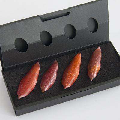 木の葉の箸置き 選べる大小ペア2セット ※化粧箱入り