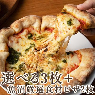 窯焼きピザ 選べる3枚+魚沼厳選食材ピザ2枚セット