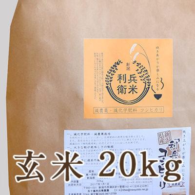【定期購入】コシヒカリ玄米 20kg(10kg×2)