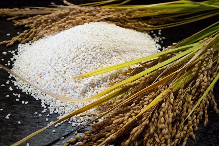 自家栽培のもち米から作る求肥