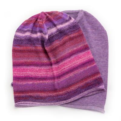 amuamuのニット帽子 オーガニックコットン(紫芋)・かすり(リリー)