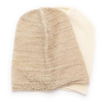 amuamuのニット帽子 オーガニックコットン(フレンチバニラ)・アルパカスラブ(新潟砂丘)