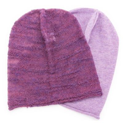 amuamuのニット帽子 オーガニックコットン(紫芋)・アルパカスラブ(かきのもと)