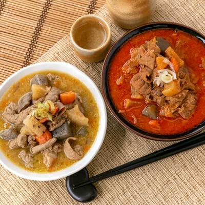 クセがなく、豚と野菜のうま味たっぷりのもつ煮