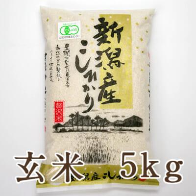 新潟産 JAS認証有機栽培米コシヒカリ「狐島米」玄米5kg