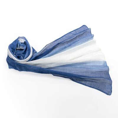 天然藍染ストール 絡み織 藍×白ツートン