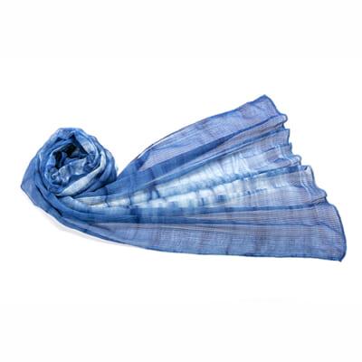 天然藍染ストール 絡み織 さざなみ