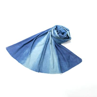 天然藍染ストール 楊柳 信濃