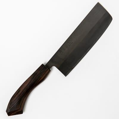 ステン槌目菜切包丁黒仕上 縞黒檀・青紙2号