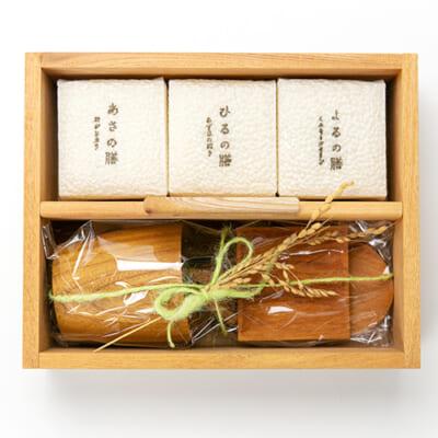 日日燦膳 米3パック・木製食器4種