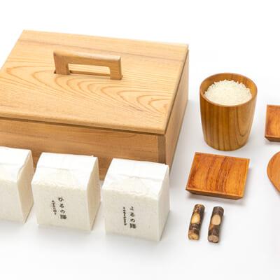 上越市産のお米3品種と木製食器のセット