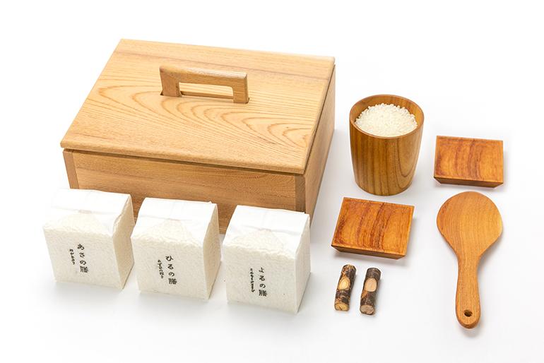 上越産のお米3品種&木製食器のセット