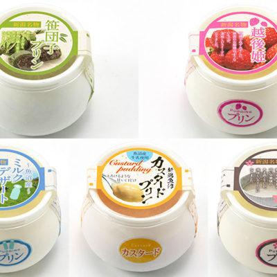 新潟県の特産食材をふんだんに使用した5種類の冷凍プリン