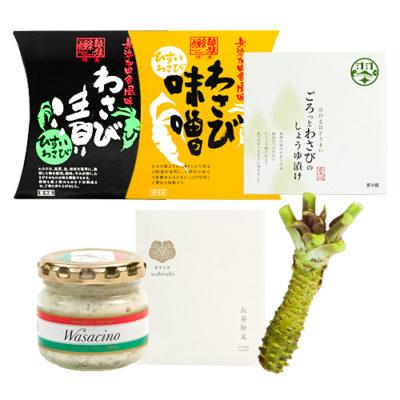 糸魚川産真妻わさび1本と加工品5種5個セット