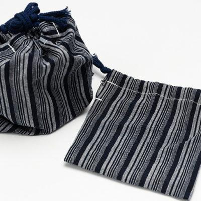 亀田縞の巾着付き
