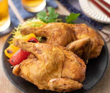 「越の鶏」の半身揚げ